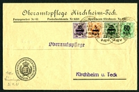 Lot 21614:1923 use of 5m, 10m, 25m & 60m surcharges, cancelled with 'MUNSINGEN ?
