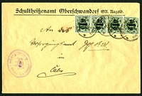 Lot 3759:1923: use of 25m x4 surcharges, cancelled with 'NAGOLD/16MAI/23/1112V' (B2), to Caln.