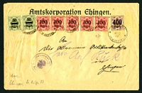 Lot 22519:1923 use of 50m x2, 100m x5 & 400m surcharges, cancelled with 'ERBACH/21/AUG/23/IN WÜTTBG' (A2).