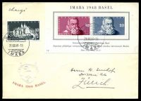 Lot 28733:1948 IMABA SG #498a m/s plus 10c Schloss Neuenburg on cover to Zurich.