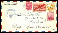 "Lot 27674:1945 use of 2c x2, 6c on 6c air Envelope to New York, endorsed ""Clipper from Honolulu"", cancelled with worn 'PAGO PAGO/APR/11/P.M./1945/SAMOA' duplex, blue 'PASSED BY/CENSOR/American/Samoa' (A1) on face."