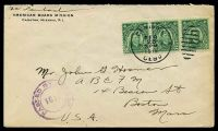 Lot 27385:1919 use of 2c green strip of 3, cancelled with framed duplex 'CEBU P,I,