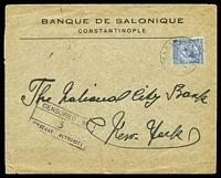 Lot 3728:1919 use of GB KGV 2½d (SG Z180) on Banque de Salonique cover to New York, cancelled with double-circle '[BRITISH] A.P.O./A/29JY/19/[CONS]