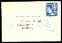 Lot 3926:1943? use of 3d blue to USA, with blue boxed 'POSTAL/CENSOR' (B2) on face.