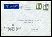 Lot 4374:1946 use of 4f & 15f on air cover to Switzerland from Swiss Consulate, Casablanca.