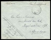 "Lot 3939:1947 use of stampless cover endorsed ""Militair"" & ""Per Luchtpost"", cancelled with light double-circle 'V[ELDPOS]"