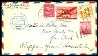 "Lot 24700:1945 use of 2c x2, 6c on 6c air Envelope to New York, endorsed ""Clipper from Honolulu"", cancelled with worn 'PAGO PAGO/APR/11/P.M./1945/SAMOA' duplex, blue 'PASSED BY/CENSOR/American/Samoa' (A1) on face."
