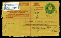 Lot 2732 [1 of 2]:Carlton South: - WWW #50A 'CARLTON SOUTH N.3/16JA67/VIC-AUST', on 24c Registration Envelope with blue Registration Label. [Rated 2R]  PO 8/12/1924; renamed Carlton South Business Centre BC c.-/3/1999.