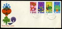 Lot 28052:1972 National Day SG #178-81 set tied Official illustrated FDC by Singapore CDS 9-8-72, unaddressed.