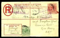 Lot 23530 [1 of 2]:1920 Address Panel in BLC HG #C5 2d dark blue, size F, uprated with ½d & 1½d, cancelled with poor Grenville of 1931, boxed 'U.S. CUSTOMS/FREE OF DUTY/I.N./PORT OF NEW YORK' & obliterated boxed 'SUPPOSED LIABLE TO/?/CUSTOMS DUTY' (B2) both on face.