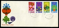 Lot 4311:1972 National Day SG #178-81 set tied Official illustrated FDC by Singapore CDS 9-8-72, unaddressed.