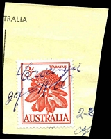 "Lot 2543:Cowangie: - mss ""Cowangie/29-4-60"" on 3/- Waratah on telegram piece."