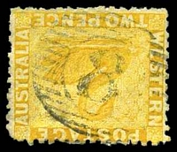 Lot 15569:8: on 2d yellow.  Allocated to Fremantle-PO 4/12/1829.