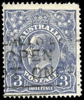 Lot 695:3d Blue Die Ia - [3,4R38] type A with Dot after 3 in right value tablet etc