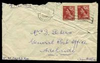 Lot 2088 [2 of 2]:Adelaide: - scalloped double-oval 'DELIVERY WINDOW/27JAN1956/G.P.O. ADELAIDE' backstamp on tatty cover.  PO 10/4/1837.