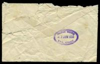 Lot 2088 [1 of 2]:Adelaide: - scalloped double-oval 'DELIVERY WINDOW/27JAN1956/G.P.O. ADELAIDE' backstamp on tatty cover.  PO 10/4/1837.