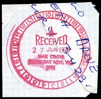 Lot 2580:Footscray West Mail Centre (1): - WWW #10 24-hr clock 'RECEIVED/27JUN1979/MAIL CENTRE/FOOTSCRAY WEST, VIC./3012' in red. [Rated 3R]  MC c.-/4/1979; closed 13/10/1979. [Temporarily in a section of the State Mail Centre]