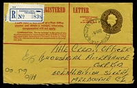 Lot 2904 [1 of 2]:Garden City: - WWW #10A 'GARDEN CITY S.C.8/9FE68/VIC-AUST', on 25c Registration Envelope with blue registration label with S.C.8 obliterated.  PO 17/9/1945; LPO 30/4/1993.