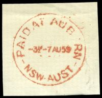 Lot 1330:Auburn: - red 'PAID AT AUB[U]RN/3½D-7AU59/NSW-AUST' on piece.  PO 16/6/1880.