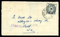 Lot 3147:Beacon: - 'BEAC[ON]/29JY55/W.A.' (LRD) on 3½d AAT, spike hole.  TO 1/12/1931; PO 15/2/1933.