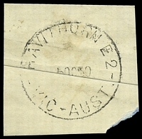 Lot 2597:Hawthorn (1): - WWW #230A 'HAWTHORN E.2/5OC50/VIC-AUST.' (arcs 2,1½). [Rated 3P]  PO 1/1/1854; replaced by Hawthorn Business Centre BC 24/10/1997.