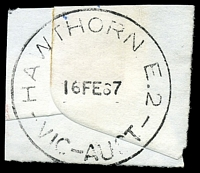 Lot 2598:Hawthorn (1): - WWW #260A 'HAWTHORN E.2/16FE67/VIC-AUST' (arcs 2,2½ - LRD). [Rated 3P]  PO 1/1/1854; replaced by Hawthorn Business Centre BC 24/10/1997.