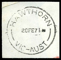Lot 2474:Hawthorn (1): - WWW #270 'HAWTHORN/20FE71/VIC-AUST' (arcs 7½,8).  PO 1/1/1854; replaced by Hawthorn Business Centre BC 24/10/1997.