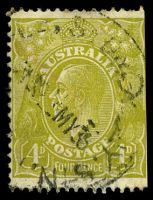 Lot 2627:4d Olive - horizontal bar on 4 in left value tablet extended [3R58], odd toned perf.