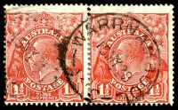 Lot 2512 [1 of 2]:1½d Red Die II - rejoined pair [2L49-50], unit 50 with Split in right angle of top frame etc