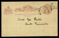 Lot 1514 [1 of 2]:1889-91 QV Oval Sideface HG #4 1d rose on greyish with dots for address line, cancelled with unframed duplex 'TOWNSVILLE/10OC15/95/Q[UEENSLAN]