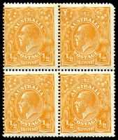 Lot 212 [1 of 3]:½d Orange - BW #66(8)e,f block of 4 [8L1-2,7-8], unit 2 with Eight wattles at left & unit 7 with Cut in right wattles, Cat $70++, couple of short perfs