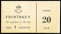 Lot 27922:1957 Gustav VI SG #SB121 4k 20ö black x20 (6 stamps removed), Cat £18.
