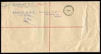 Lot 2801 [2 of 2]:Law Courts: - WWW #410B 'PAID AT LAW COURTS    /27FE70/VI[C-AU]ST' ('C.1' removed) in red on OHMS large envelope, blue registration label, filing creases.  TO 29/10/1884; RH 12/1/1885; PO c.1902.