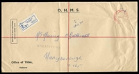 Lot 2801 [1 of 2]:Law Courts: - WWW #410B 'PAID AT LAW COURTS    /27FE70/VI[C-AU]ST' ('C.1' removed) in red on OHMS large envelope, blue registration label, filing creases.  TO 29/10/1884; RH 12/1/1885; PO c.1902.