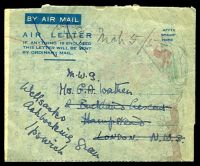 Lot 24724:1952(C) formular Christmas Greetings Air Letter without country of origin, light Nairobi machine cancel, (stamps removed?) to London, re-addressed to Ipswich.