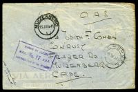 Lot 3869:1941 double-circle 'P.O.-U-M.P.K./6VIA41/2' (Nairobi) on OAS cover, boxed 'PASSED BY CENSOR./U.F.P. No.17 U.D.F./GEODGEKEUR DEUR SENSOR