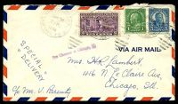 Lot 4532 [1 of 2]:1938 use of 1c Franklin, 5c Roosevelt & 10c Special Delivery, cancelled with 'OMAHA. NEBR./JUN4/7PM/1938/AIR MAIL FIELD - RMS' duplex (B1) on air cover to Chicago, straight-line 'Fee Claimed at Chicago Ill.' (B1).
