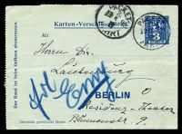 Lot 3617:1899 local use of 3p blue Berlin Packetfahrt lettercard, cancelled with 'PACKET/2/13 6 99/III/FAHRT' (B1).