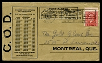 Lot 3788 [1 of 2]:1933 use of 3c red KGV on Canadian National Express COD cover.