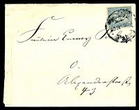Lot 4083:1896 use of 3p pale blue Berlin Packetfahrt, cancelled with poor strike of 20DEC96.