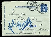 Lot 21676:1899 local use of 3p blue Berlin Packetfahrt lettercard, cancelled with 'PACKET/2/13 6 99/III/FAHRT' (B1).