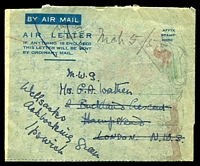 Lot 24181:1952(C) formular Christmas Greetings Air Letter without country of origin, light Nairobi machine cancel, (stamps removed?) to London, re-addressed to Ipswich.