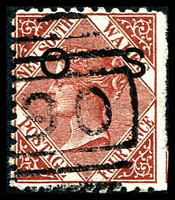 Lot 5656:1882-85 Wmk 2nd Crown/NSW Small 'OS': 4d red-brown P11x12, SG #O26a trimmed wing margon at right.