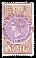Lot 5773:1872-94 Stamp Duty: Peck #2.46 2/- orange-brown & violet P12½, wmk 1st NSW (upwards).