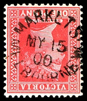 Lot 13884:Market Street: - unframed 'MARKET S[T]/MY15/00/MELBOURNE.W' on 1d red QV.  Renamed from Customs House PO c.-/1/1884; replaced by Collins Street West PO 21/11/1997.