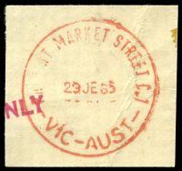Lot 2580:Market Street: WWW #410A 'PA[ID A]T MARKET STREET C.1/29JE65/VIC-AUST' in red. [Rated 4P]  Renamed from Customs House PO c.-/1/1884; replaced by Collins Street West PO 21/11/1997.