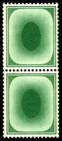 "Lot 4140:1935(C.) ""Poached Egg"" green P15x14 wmk Experimental multi GvR #W111a vertical pair. [Used for testing coil machines.]"