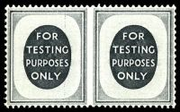 Lot 3566:1955(C.) Testing Stamps 'FOR TESTING PURPOSES ONLY' in grey P15x14 wmk St. Edward's Crown vertically imperforate between pair. [These were printed to test coil machines for commemorative stamps.]