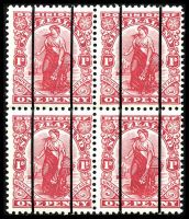 Lot 3966:1909 Coil Trial Stamps 1d Dominion (DLR) block of 4 invalidated with 2 vertical thin lines. [Sold after trials were completed.]