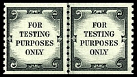 Lot 4261:1962 Coil Test Stamps Sc #62b black 'FOR TESTING PURPOSES ONLY' Imperf xP10 joint line pair with pebble surfaced gum.